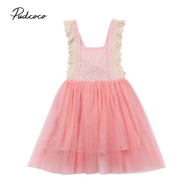 Cute Toddler Kids Girls Princess Pink Lace Tulle Tutu Dress Backless ...