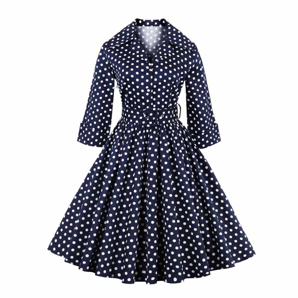 Polka Dot Vintage Dress Women Brand 50s A Line Big Swing Belt Spring 2019 Red Sweet Ladies Party Elegant Blue Retro Chic Dresses