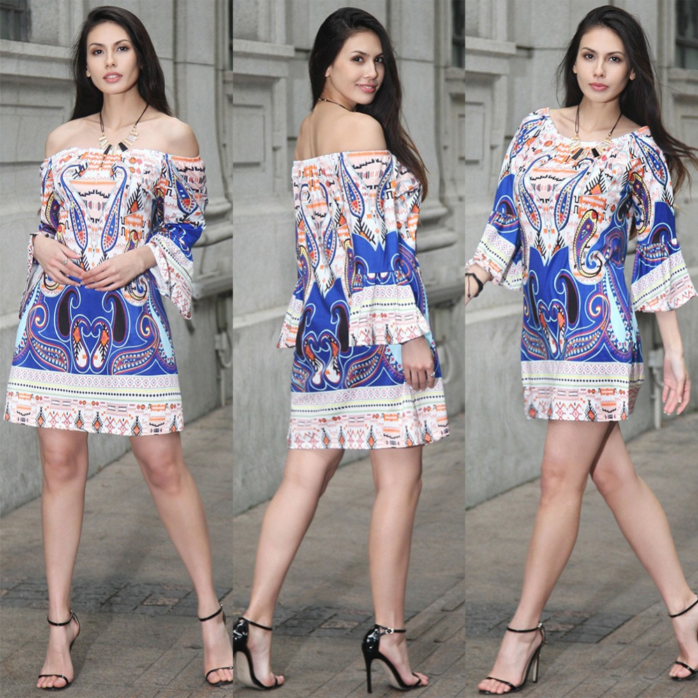 2017 Summer Egyptian print style Dress Casual Dresses For ...