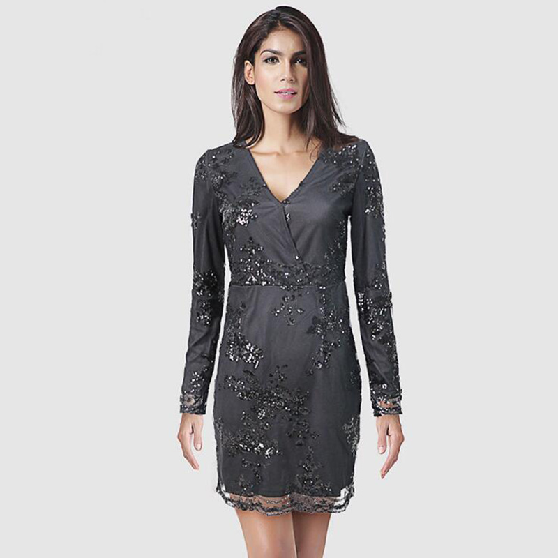 Women Sexy Hot Full Sleeve Deep V Neck Sequin Mesh Club Evening Party  Special Occasion Bodycon 9b0413284408