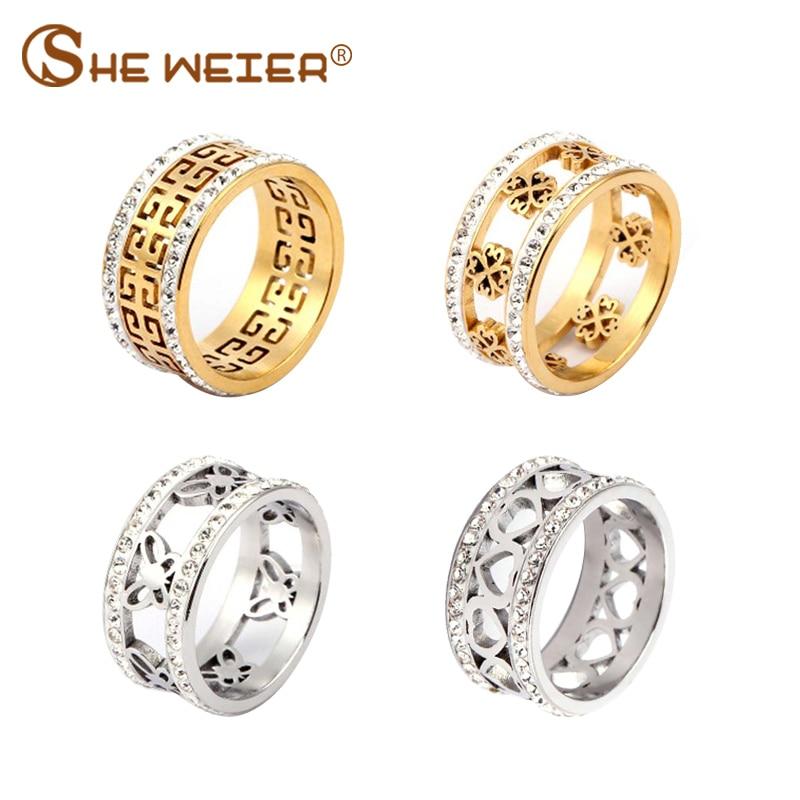 SHE WEIER stainless steel wedding ring engagement ring female girl gold titanium finger female heart-shaped ring crystal love(China)