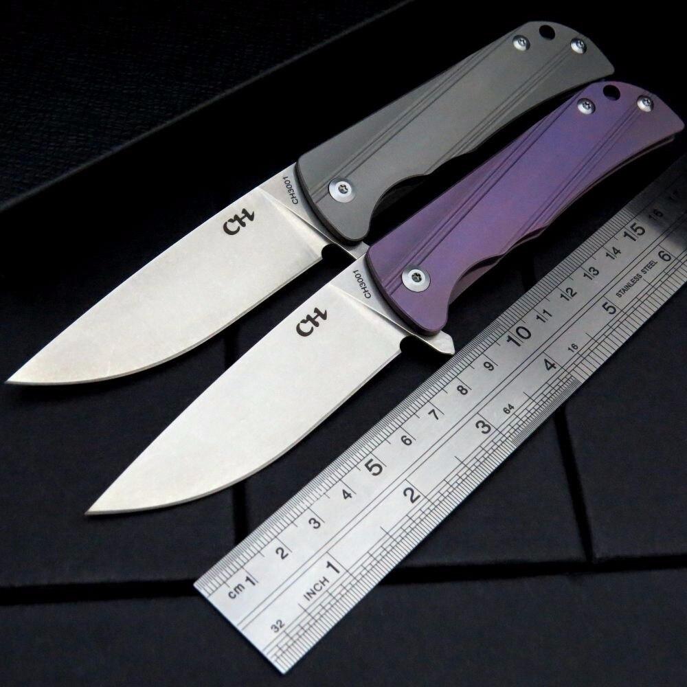 Item quente recomendado ch paralelo faca de dobramento AUS-8 lâmina aço tc4 liga titânio lidar com faca de acampamento ao ar livre ferramenta edc
