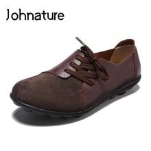 Johnature 2020 nouveau printemps/automne rétro en cuir véritable bout rond à lacets solide semelle souple couture confortable femmes chaussures plates