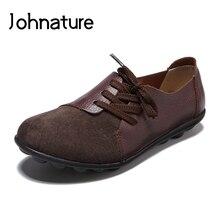 Johnature 2020 yeni İlkbahar/sonbahar Retro hakiki deri yuvarlak ayak dantel up katı yumuşak taban dikiş rahat bayan düz ayakkabı