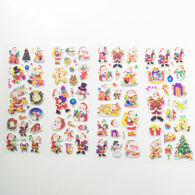 3D Santa Claus Stickers DIY Scrapbook Waterproof PVC Stationery Diary Stickers Kids Children Christmas Gifts 5 Sheets