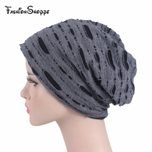 Autumn and winter Broken Hole turban hat Cap Women men Fashion Soft Slouchy  Stretchy Beanie Lightweight 5becc3f48390
