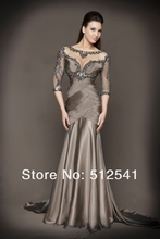 Prom Dresses 2013 New Sheath Open-back Scoop Satin Beaded with Ruffles Half sleeves Noble D78590