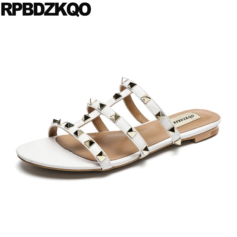 e7f6b6d3526 Women Slippers Rivet White Rock Stud Shoes Slides Designer Strappy Roman  Yellow Gladiator 2018 Ladies Flat Sandals Famous Brand