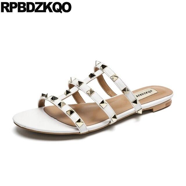 88a55db41603d Women Slippers Rivet White Rock Stud Shoes Slides Designer Strappy Roman  Yellow Gladiator 2018 Ladies Flat