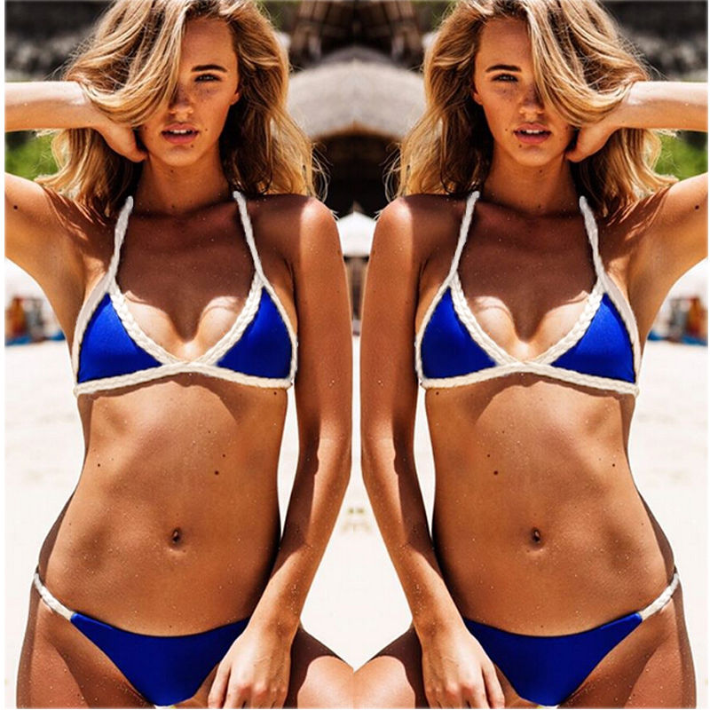 Black Friday Deals 2017 New Women Bikini Set Hemp Rope Bordered Blue Push-up Padded Bra Swimsuit Swimwear e Bathing Suit