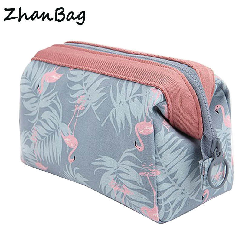цена на ZhanBag New Fashion Polyester Multifunctional Women Cosmetic Bag Portable Storage Travel High Quality Makeup Bag