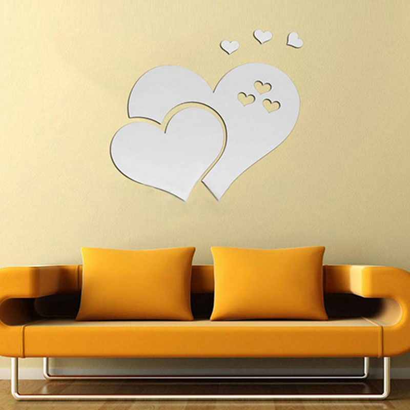 Silver three dimensional mirror heart shaped wall decals stickers ...