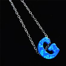 Фотография 21649 Alfabet Initial Necklace Girl Blue Fire Opal Letter G Pendants Silver Tone Stainless Steel Chain Necklace Kolye Collier
