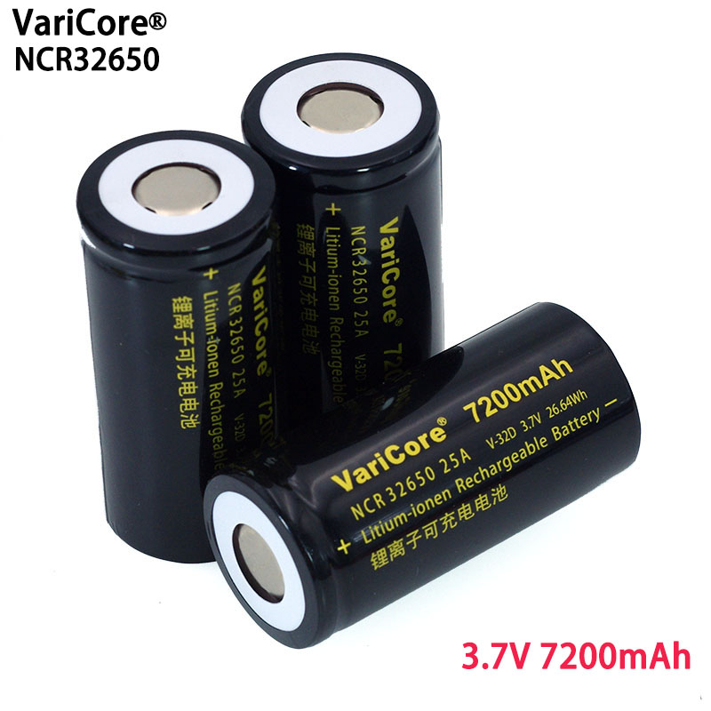 6pcs/lot VariCore 3.7V 32650 7200mAh Li ion Rechargeable Battery 20A 25A Continuous Discharge Maximum 32A High power battery-in Replacement Batteries from Consumer Electronics