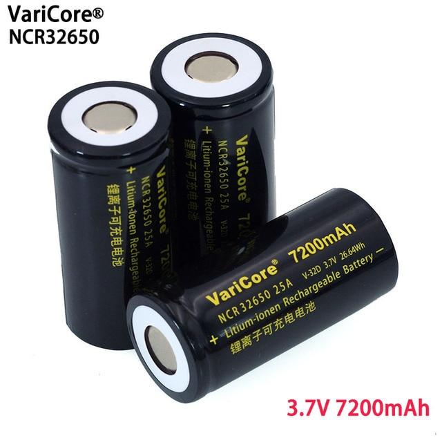 6pcs/lot VariCore 3.7V 32650 7200mAh Li ion Rechargeable Battery 20A 25A Continuous Discharge Maximum 32A High power battery