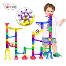 80 pcs DIY Mármore Corrida Corrida Bolas Labirinto Blocos Pista Túnel Modelo Para Crianças de Construção De Brinquedos Jogo Do Presente