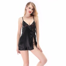 2016 Hot Sexy Lingerie Satin Lace Black Kimono Intimate Sleepwear Sexy Night Gown sex products 5 Color S M L XL XXL