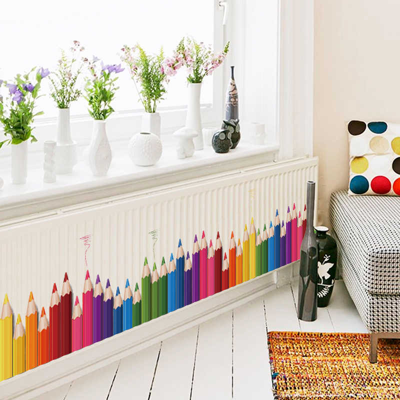 DIY Mural Pencil Back To School Wall Sticker Removable Vinyl Art Wall Decals Kindergarten Play Room Decor