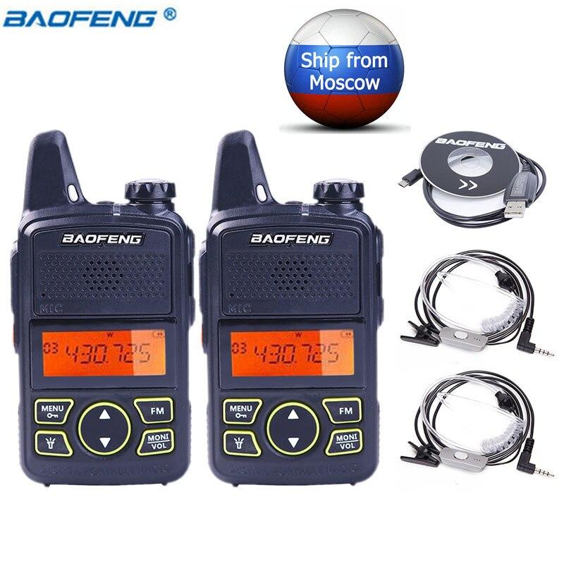 2 pcs Baofeng BF-T1 MINI Talkie Walkie BF T1 cb Two Way Radio UHF longue portée lampe de Poche Émetteur-Récepteur De Poche + 2 casque + 1 Câble