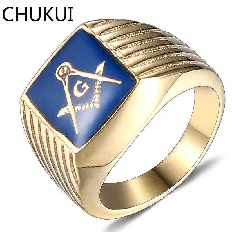 CHUKUI Fashion Stainless Steel Men Rings Gold Tone Blue Enamel Ring Geometric Square Mason Freemasonry Ring Jewelry Male #8-11