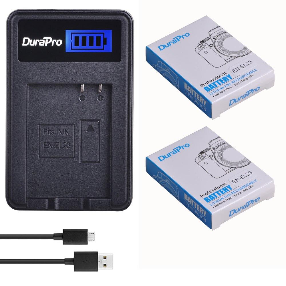 DuraPro 2pc 1850mAh EN-EL23 Camera Li-ion Battery + LCD USB Charger Kit For Nikon COOLPIX P900, P610, P600, B700, S810c Camera