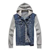 Men S Fashion Denim Hoodie Men Jacket Jean Cotton Blend Patchwork Retro Vintage Autumn Hip Hop