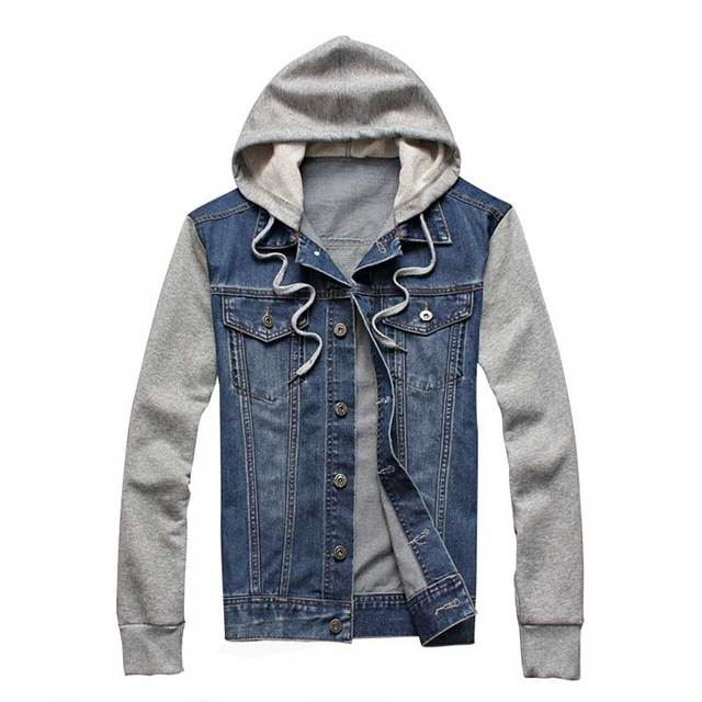 Men's Fashion Denim Hoodie Men Jacket Jean Cotton Blend Patchwork Retro Vintage Autumn Hip-hop Winter Fall Tops Coats Plus Size