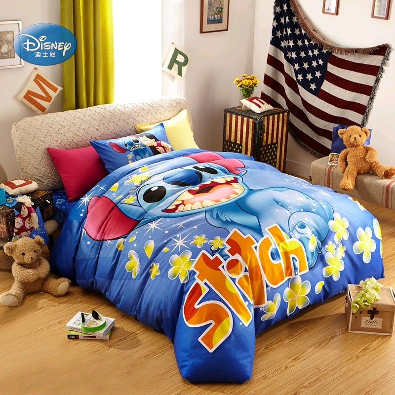 Disney Cartoon Blue Floral Stitch Bedding Set Duvet Cover Pillowcases Summer Bedlinen for Kids Boys Girls