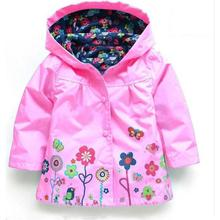 Prom Baby Hooded Jacket With Flower Children Kids Fashion Ski-wear For Spring Autumn With Floral