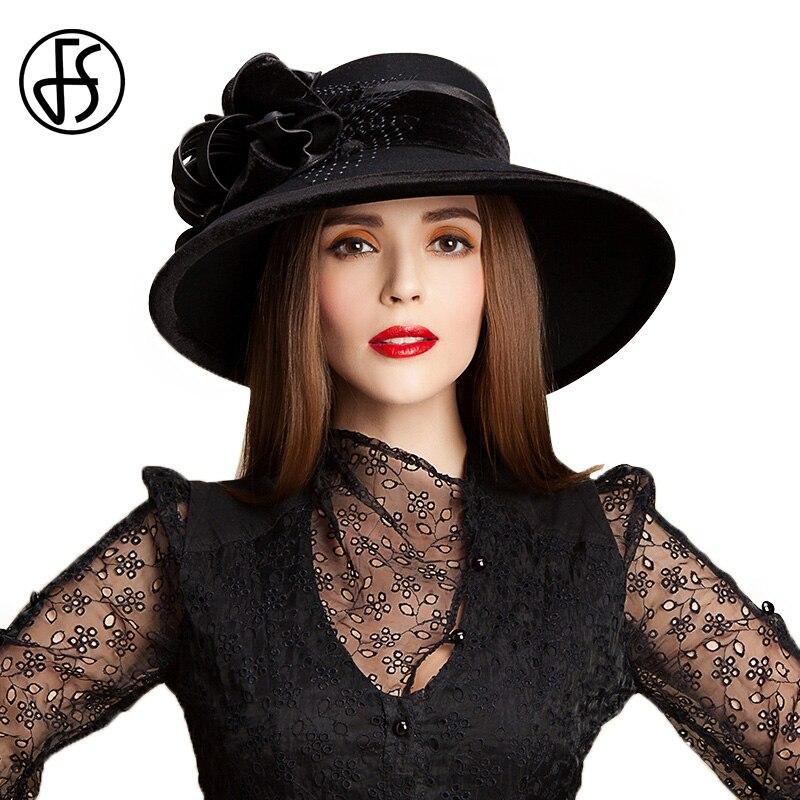 FS 100% Laine Église Chapeaux Pour Femmes Noires Élégant Automne Hiver Grand Large Bord Fedora Dames en Feutre Bowler Avec Fleur cloche Chapeau