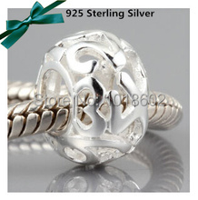 925 Sterling Silver Charm Arabic Numbers 1-9 Bead Accessories  Fit Europe Snake Chains Bracelet  Necklace 1pc/lot VK0886