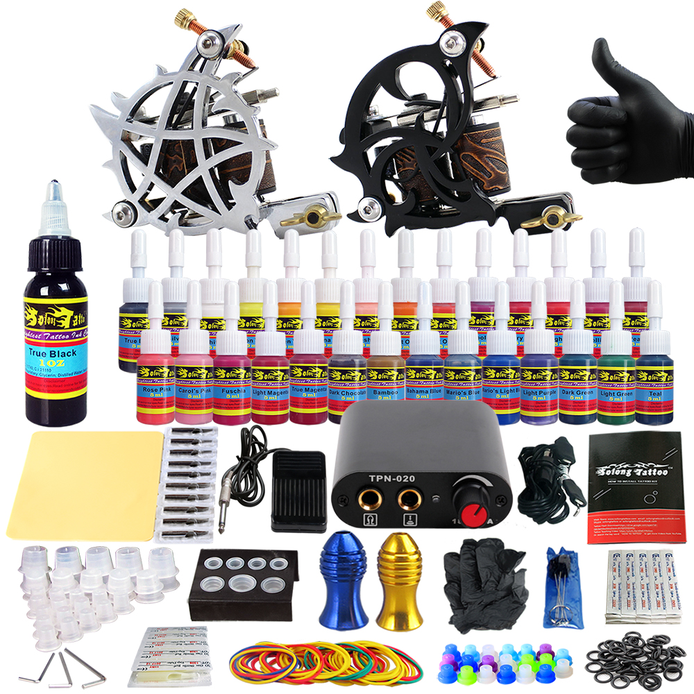 Solong Tattoo complete professional 2 tattoo Machine Guns set Tattoo Kit 28 Inks Needle Grips power supply TK204-13 europe god of darkness robert recommend gp self lock grips gp3 professional tattoo artist grip