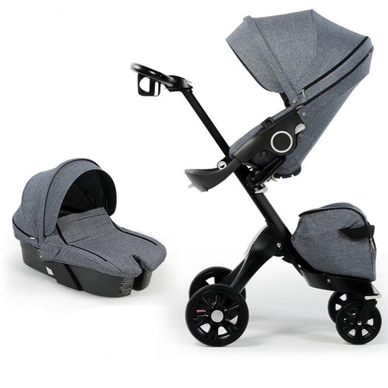 Poussette bébé de luxe 2 dans 1 Haute Paysage Landaus Peut Se Plier Portable Mode Poussettes Et Panier De Couchage Pour Les Nouveau-nés