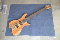New Big John 6 Strings Fretless Electric Bass Guitar In Natural With Zebra Wood Body And