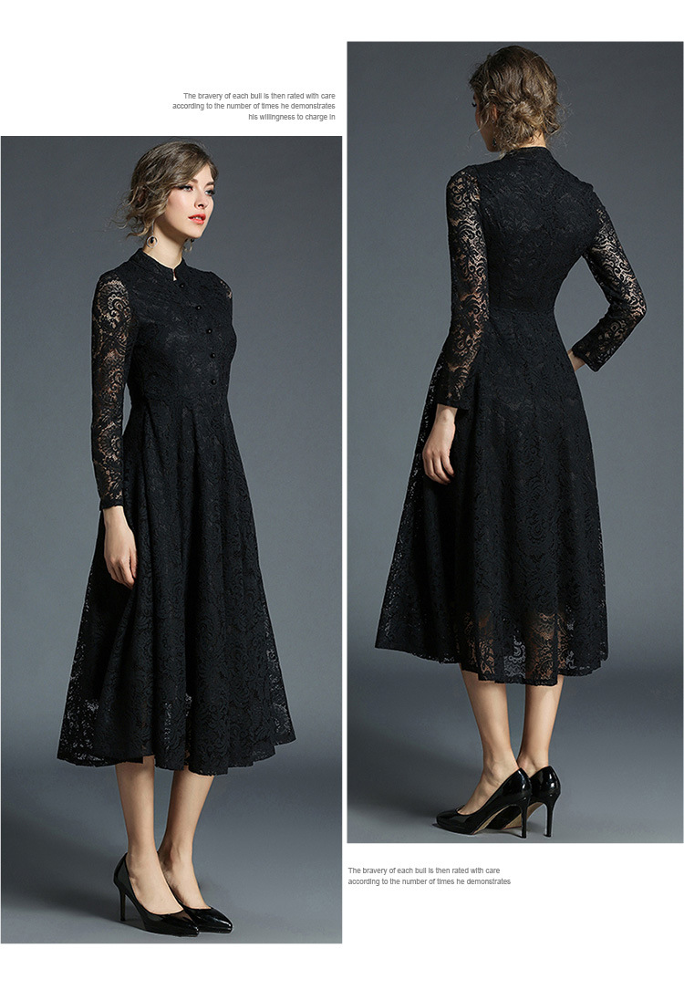 Stand Neck Long Sleeve Office Work Elegant Lace Dress 3
