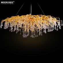 2019 Luxurious Crystal Pendant Light Modern Popular Gold Color G9 Rectanglsuspension Lustre for Restaurant Hotel Project