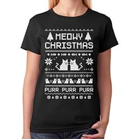 Designer Tee Shirts Meowy Christmas Ugly Sweater Cute Xmas Party O Neck Women Short Funny T
