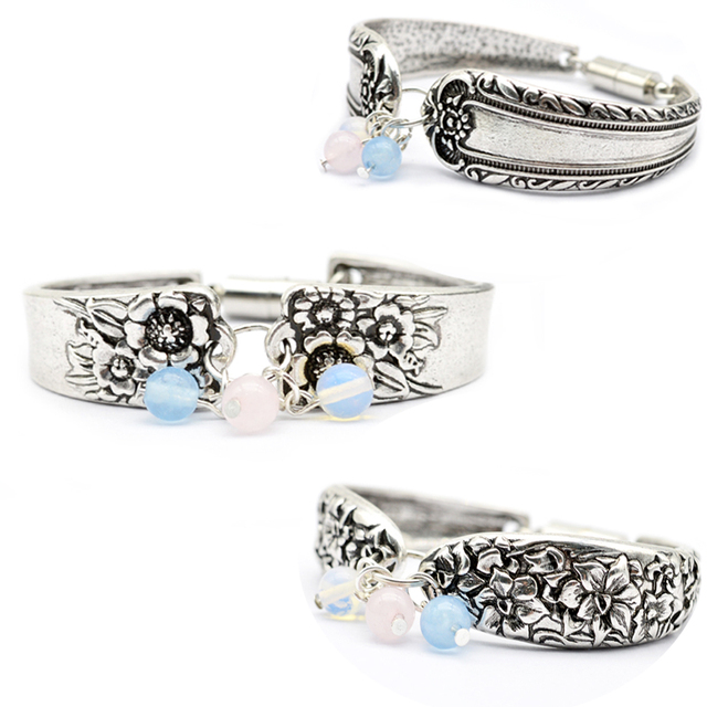 US $4 5 |1pcs Dropshipping Beautiful Spoon Bracelet Jewelry Handmade Flower  Artificial Gemstones Bracelet Medieval Retro Bangle BT28-in Charm