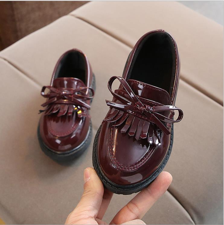 Spring Autumn Children Leather Shoes Classic Vintage Tassel Girls Oxford Shoes Kids PU Leather Performance Shoes