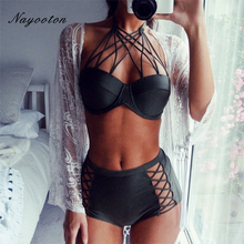Summer 2018 New EuropeBlack Sexy Halter Swimwear Women swimwear  Mesh High Waist