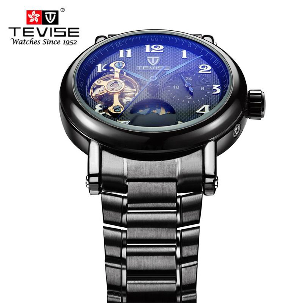 TEVISE new fashion mechanical watches men casual waterproof wristwatch Black Steel brand watch for male hour montre homme tevise fashion auto date automatic self wind watches stainless steel luxury gold black watch men mechanical t629a with tool