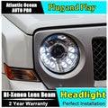 DRL faros U angel eyes car styling Para Jeep Liberty 2013-2015 Para Jeep Liberty LED barra de luz DRL Q5 lente del xenón del bi xenon h7