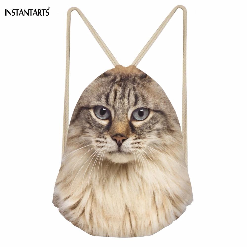 INSTANTARTS Cute 3D American Curl Cat Print Women Drawstring Bag Punch Pocket Backpack Casual Soft Teen Girl Travel Storage Bag