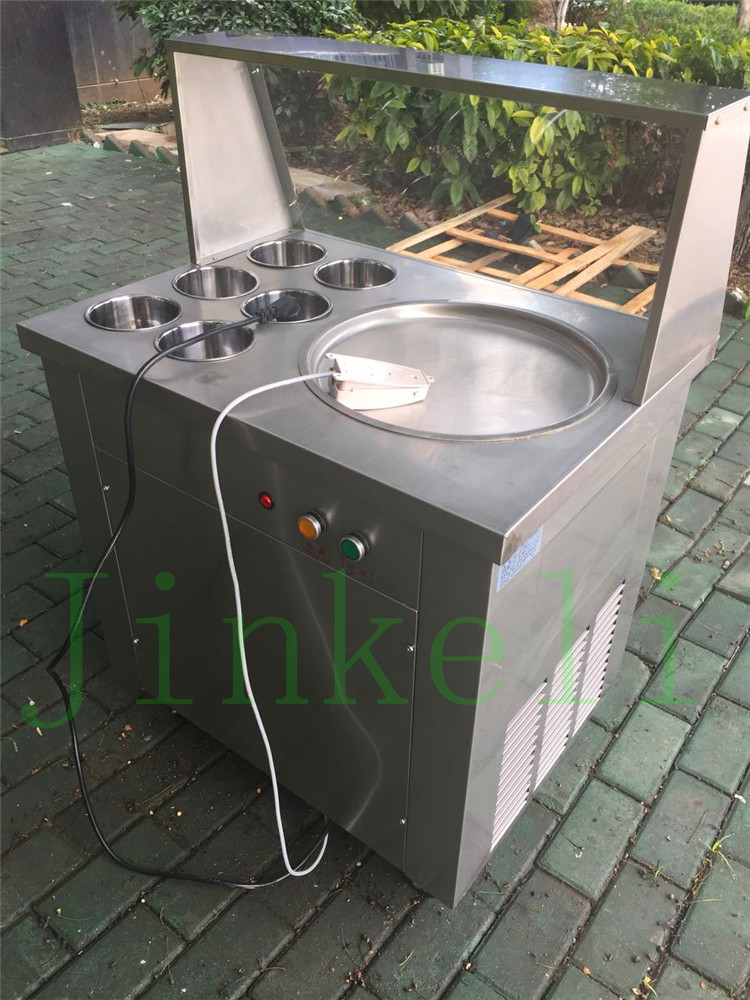 Free delivery CE single pan with 6 cooling bucket s fried ice cream machine ice pan machine ice slush machine for sale free air ship ce stainless steel fried ice cream machine single pan freezer ice pan machine with defrost for ice cream rolls