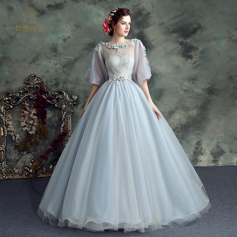light grey veil lace flower embroidery bubble sleeve medieval dress ball gown siss princess Gown queen Cos Victorian Belle ball