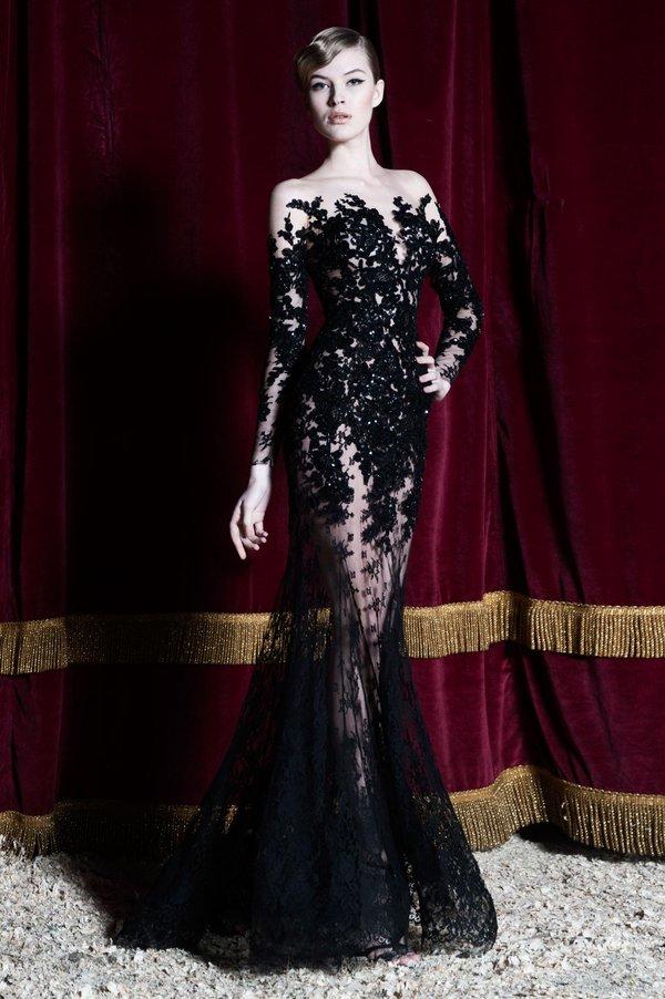 Imh231 New Fashion Boat Neck Black Mermaid Evening Dress