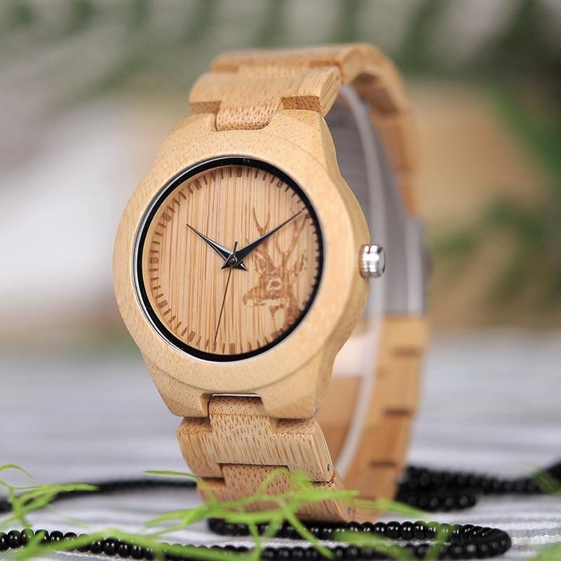BOBO VOGEL Vrouwen Horloges Relogio Feminino Elanden Gegraveerde Gezicht Bamboe Houten Horloges Luxe Merk Handgemaakte Houten Band C-dE04
