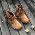 Натуральная кожа Девушки Челси сапоги Дети Повседневная обувь Замши Дети Западная Рыцарь сапоги Fashion Fringe Мартин Сапоги