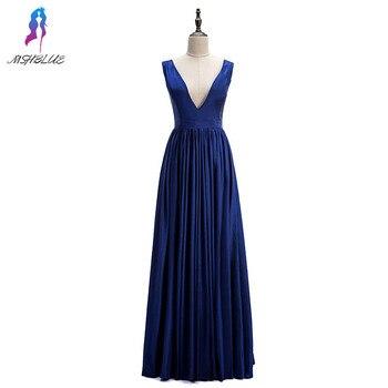 Sexy Deep V Neck Long Prom Dresses Royal Blue Taffeta Formal Gowns MSHBLUE 2019