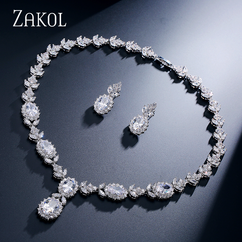 ZAKOL Top Quality Oval Cubic Zircon Sliver Color Jewelry Set For Noble Women Party Accessories FSSP234ZAKOL Top Quality Oval Cubic Zircon Sliver Color Jewelry Set For Noble Women Party Accessories FSSP234